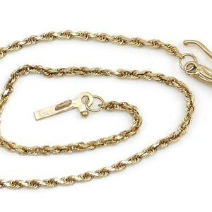 Jewelry - Solid 14K Yellow Gold 1.5mm Rope Chain Bracelet 7″